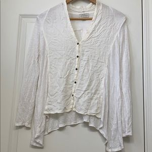 Light cream button down blouse with imperfections